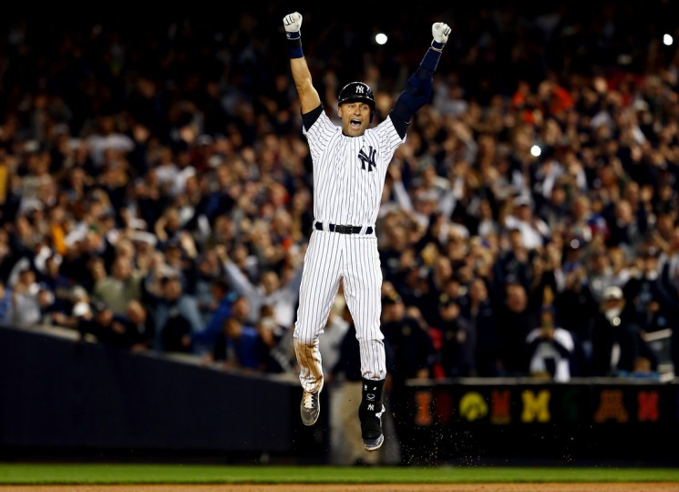 Derek Jeter #2 of the New York Yankees celebrates after a game winning RBI hit in the ninth inning against the Baltimore Orioles in his last game ever at Yankee Stadium on September 25, 2014 in the Bronx borough of New York City. (Elsa/Getty Images)