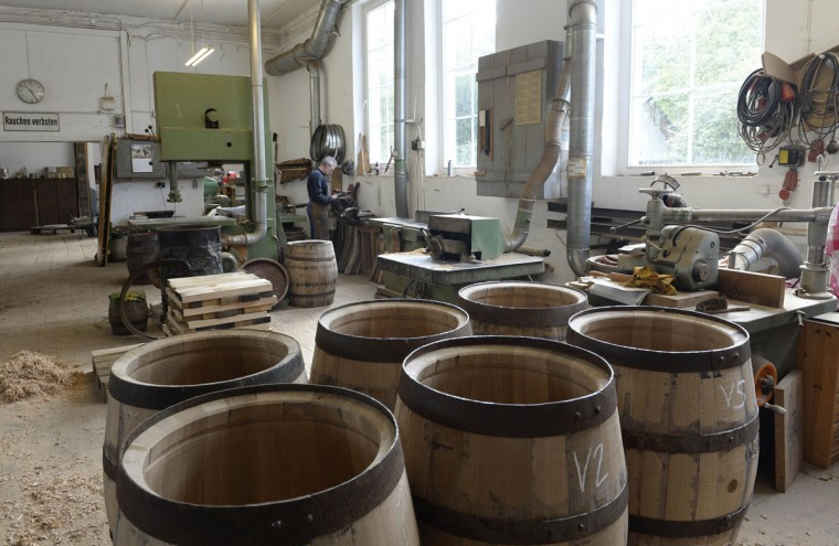 New beer barrels made of oak wood are produced at the barrel factory Schmid in Munich, southern Germany, on September 8, 2014. (Christof Stache/AFP/Getty Images)