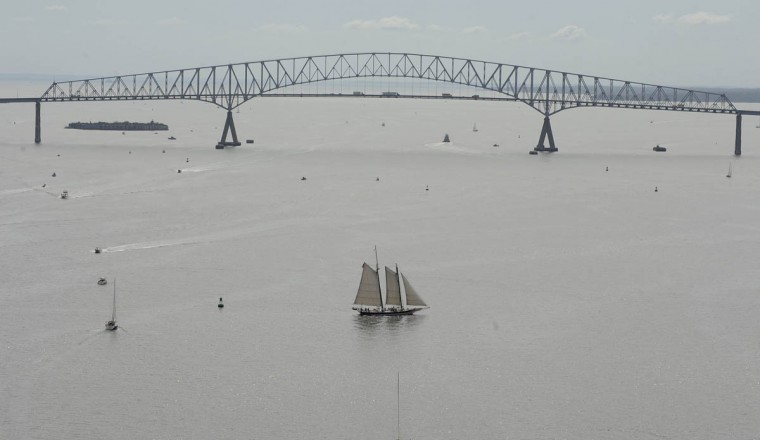 The Living Classroom Foundation's Lady Maryland sails near the Key Bridge in Baltimore for the Star-Spangled Banner Bicentennial Celebration