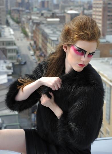 DKNY fur jacket, $295, Ruth Shaw Inc. Kardashian dress, $69, Sears.