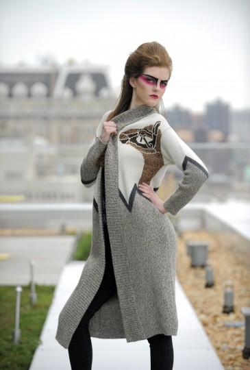 Mara Hoffman sweater, $374, marahoffman.com. Nicole Miller top, $220, pants, $295; both from Panache. Dolce Vita heel, $178, Poppy and Stella.