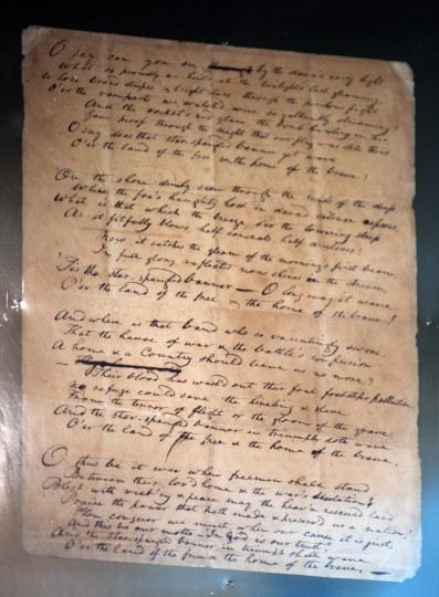 The original manuscript of the Star Spangled Banner, penned by Francis Scott Key, on loan from the Maryland Historical Society, on display during a visit of the president to the city and Fort McHenry. Karl Merton Ferron/Baltimore Sun