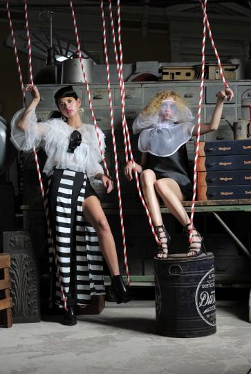 Left, Gracia top, $116; Elliott skirt, $148; both from Katwalk Boutique. Melissa boots, $180, Sassanova. Earrings, $165, Amaryllis. Right, Kate Spade dress, $398, Handbags in the City. Chez Kevito collar, $60, chezkevito.com. Dollhouse Caesar gladiator heel, $49.90, alloyapparel.com