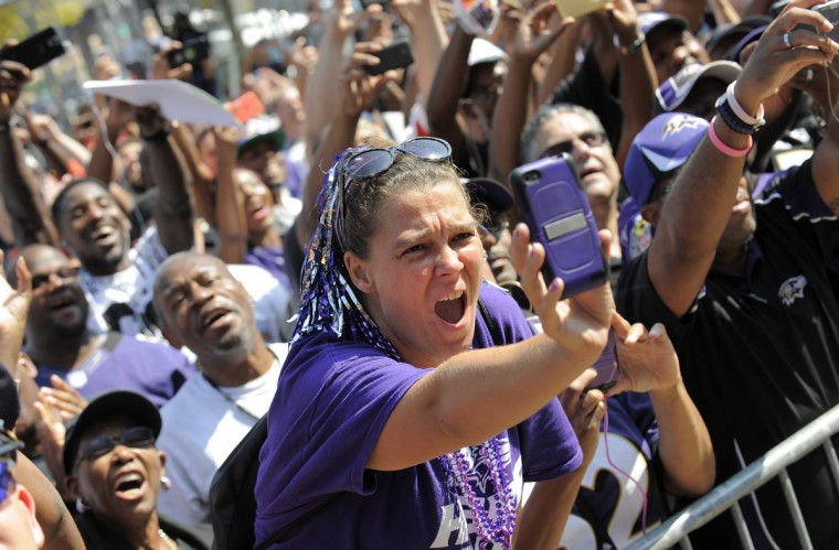 Barbara Kaiser of Dundalk was one of many fans that attended the event. Baltimore Ravens unveil the bronze Ray Lewis statue outside of M&T Bank Stadium. The statue is twelve hundred pounds and stands nine feet tall. Fred Kail was the artist and it took eleven months to make. (Lloyd Fox/Baltimore Sun)