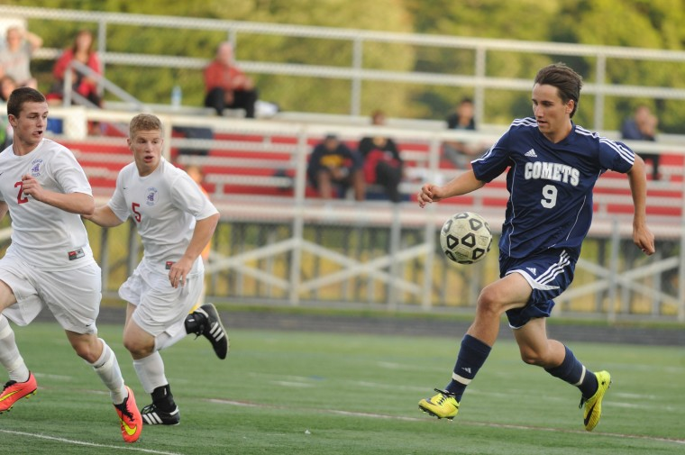 Catonsville's Nick Eff leads an offensive attack on Franklin's goal during a boys soccer game at Franklin High School Wednesday, Sept. 17. (Staff photo by Brian Krista, Baltimore Sun Media Group)
