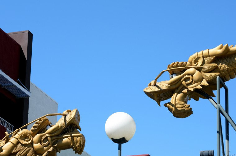 Chinatown in Los Angeles was quiet on Tuesday, Aug. 26, but had some interesting architecture.
