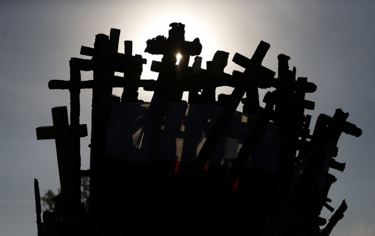 A silhouette of the Monument to the Fallen and Murdered in the East is seen during ceremonies commemorating the 75th anniversary of the Soviet Union's invasion of the eastern part of Poland at the outbreak of World War II, in Warsaw. (Kacper Pempel/Reuters)