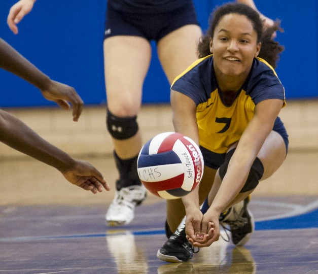 Catonsville's Maja Wichhart dives to return the ball during a girls volleyball match against Loch Raven at Catonsville Tuesday, Sept. 16. After losing the first set, Loch Raven won the next three sets to win the match. (Photo by Scott Serio, Baltimore Sun Media Group)