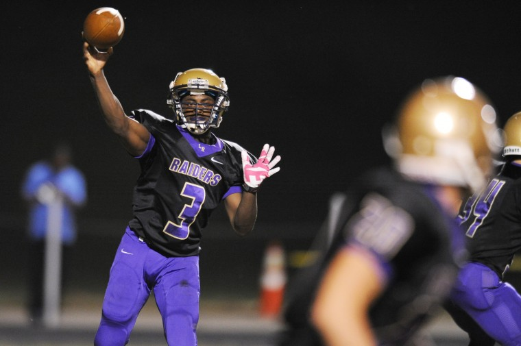 Loch Raven's Dawuan Jones releases a screen pass during a football game against Pallotti at Loch Raven High School on Friday, Sept. 19. (Staff photo by Brian Krista, Baltimore Sun Media Group)
