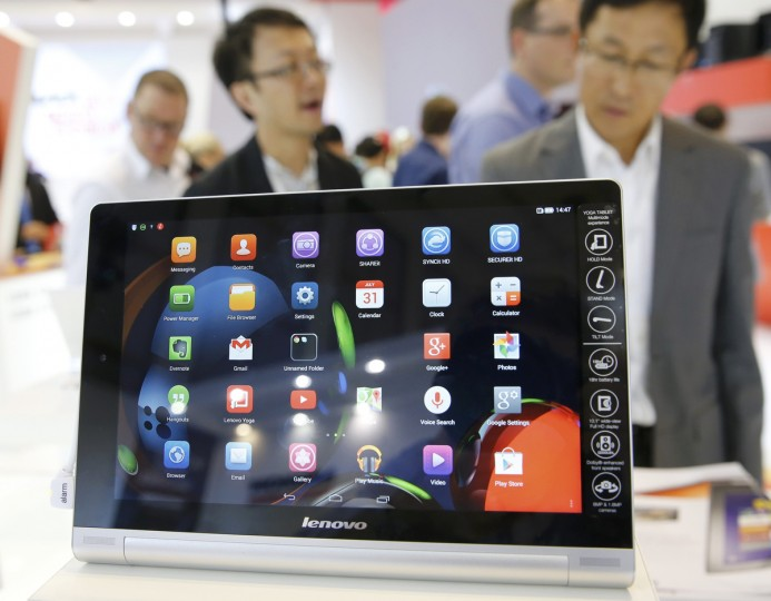A Lenovo Yoga Tablet 10 HD is pictured at the IFA consumer technology fair in Berlin, September 5, 2014. (Fabrizio Bensch/Reuters)