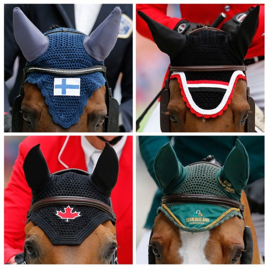 Combination pictures shows the ear covers of horses competing in the jumping first competition at the World Equestrian Games at the d'Ornano stadium in Caen September 2, 2014. Clockwise, from top L: Armani the Gun ridden by Finland's Maiju Mallat, Suma's Zorro ridden by Egypt's Sameh el Dahan, Antello Z ridden by Ireland's Cameron Hanley and Dixson ridden by Canada's Ian Millar. (REUTERS/Regis Duvignau)