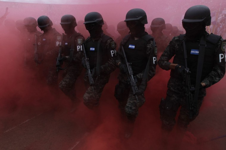Members of the military police march during a parade commemorating Independence Day in Tegucigalpa September 15, 2014. Honduras marks its independence from Spain on Monday. (REUTERS/Jorge Cabrera)