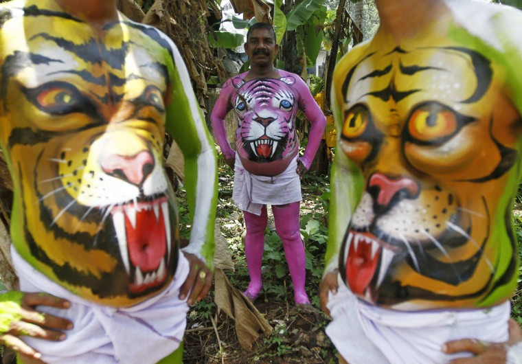 Dancers painted to look like tigers pose as they wait to take part in a performance during festivities marking the end of the annual harvest festival of Onam in Trichur city in the southern Indian state of Kerala September 10, 2014. The ten-day long festival is celebrated annually in India's southern coastal state of Kerala to symbolise the return of King Mahabali to meet his subjects. (Babu/Reuters)