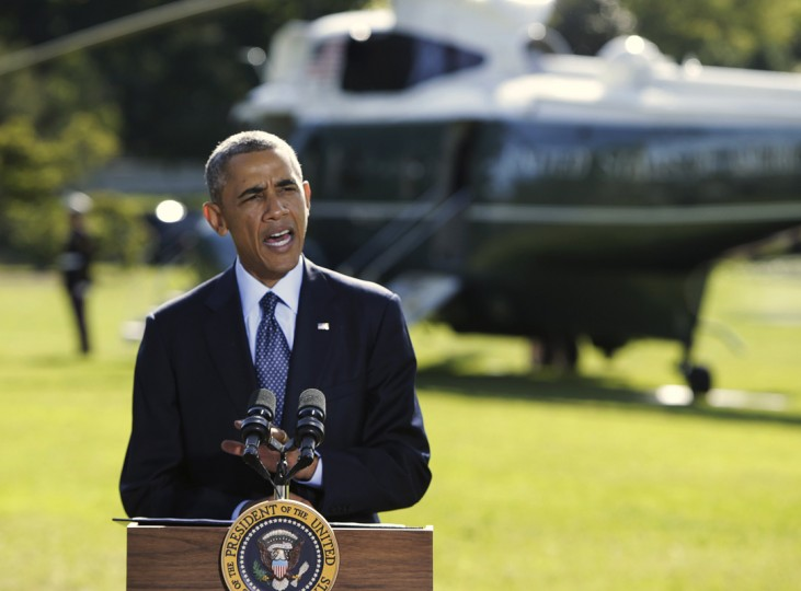 U.S. President Barack Obama delivers a statement at the White House in Washington on the air strikes in Syria, prior to departing for the United Nations in New York, September 23, 2014. Obama on Tuesday vowed to continue the fight against Islamic State fighters following the first U.S.-led airstrikes targeting the militant group in Syria, and pledged to build even more international support for the effort. (Gary Cameron/Reuters)