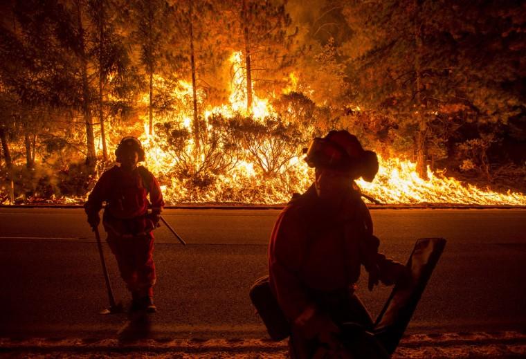 Firefighters battling the King Fire watch as a backfire burns along Highway 50 in Fresh Pond, California on September 16, 2014. (REUTERS/Noah Berger)