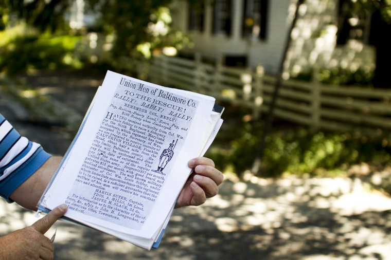 August 2014: A flyer soliciting recruits under Col. Wm. Louis Schley during the Civil War. (Kalani Gordon/Baltimore Sun)