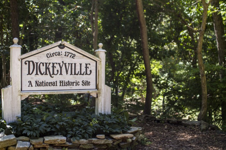 August 2014: A sign entering Dickeyville in western Baltimore. The neighborhood, a former mill town dating to the 1760s, is off Forest Park Avenue near Leakin Park and Woodlawn on the Gwynns Falls. During its long history, the neighborhood has had at least three other names, depending on which family operated the mills. (Kalani Gordon/Baltimore Sun)