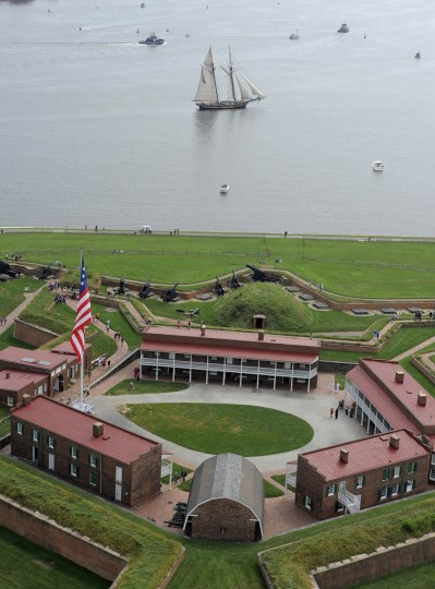 Tall ships arriving in Baltimore sail near Fort McHenry. (Lloyd Fox/Baltimore Sun)