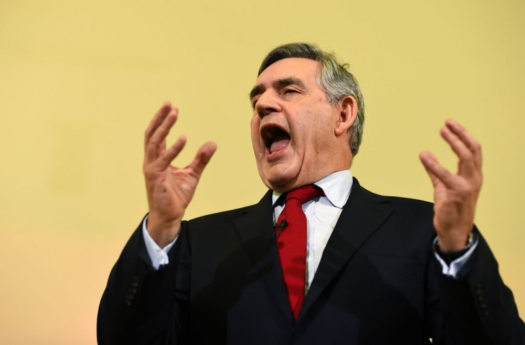 Britain's former Prime Minister Gordon Brown speaks at a campaign event in favor of the union in Clydebank, Scotland, on September 16, 2014. (REUTERS/Dylan Martinez)