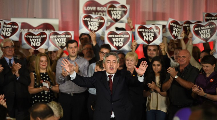 Former British Prime Minister Gordon Brown speaks at a 'No' campaign rally in Glasgow, Scotland on September 17, 2014. (REUTERS/Dylan Martinez)