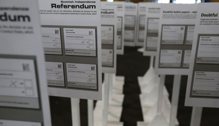 Preparations for the Edinburgh count are made in Ingleston, Scotland, on September 17, 2014. (REUTERS/Russell Cheyne)