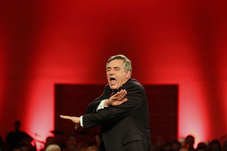 Former British Prime Minister Gordon Brown speaks at a party rally in Glasgow, Scotland on September 12, 2014. (REUTERS/Paul Hackett)