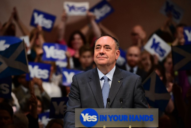 Alex Salmond stands down as Scottish First Minister following his defeat in the Scottish referendum. (Photo by Jeff J Mitchell/Getty Images)