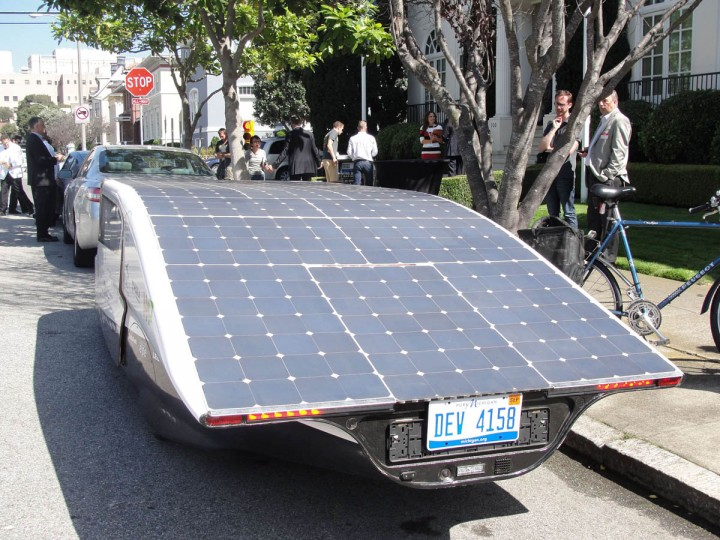 "Solar panels covering Stella's roof fuel the street-legal family car parked in San Francisco. A solar-powered family car completed its drive from Los Angeles to San Francisco fueled by good vibes and pure California sunshine. And after turning the heads of gobsmacked onlookers during its journey up California's scenic Pacific Coast Highway, the creators of ""Stella"" are dreaming of a day when their futuristic vehicle is a commonplace sight. The lightweight, wedge-shaped automobile is capable of traveling 500 miles (800km) on a single charge -- further if the sun is shining -- while clocking 80 miles per hour. (Glenn Chapman/Getty Images)"