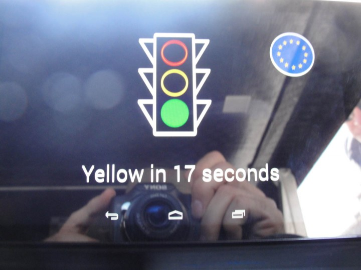 A tablet computer on the dashboard of solar-powered car 'Stella' displays information relayed from traffic signals or other cars in San Francisco. (Glenn Chapman/Getty Images)