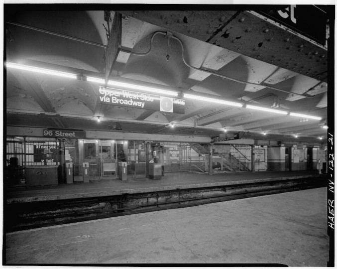 96th Street station, Uptown control area, Interborough Rapid Transit Subway (Original Line), New York, New York County, NY. (Library of Congress)
