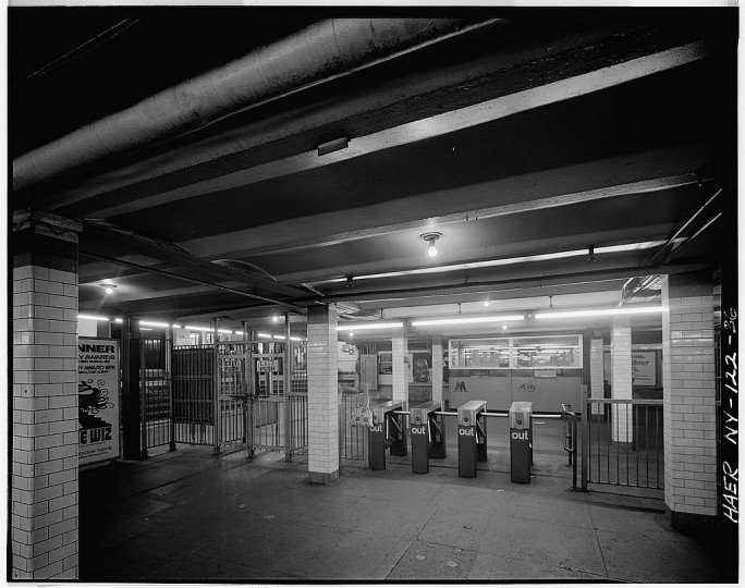 116th Street, Columbia University station. Platform and stairs to mezzanine. Interborough Rapid Transit Subway (Original Line), New York, New York County, NY. (Library of Congress)