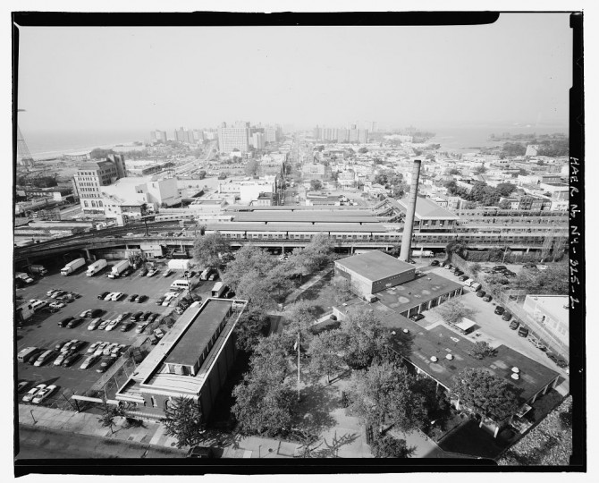 Aerial view of the Stillwell Avenue Station, looking northwest. Intersection of Stillwell & Surf Avenues, Brooklyn, Kings County, NY. The station was built by the Brooklyn Rapid Transit Company, at that time the world's largest and most complete city transportation system, and united four major transit lines, stimulating massive residential and commercial development of the area. The initial construction took place between 1916 and 1919 with subsqeuent work taking place in 1925. (Library of Congress)