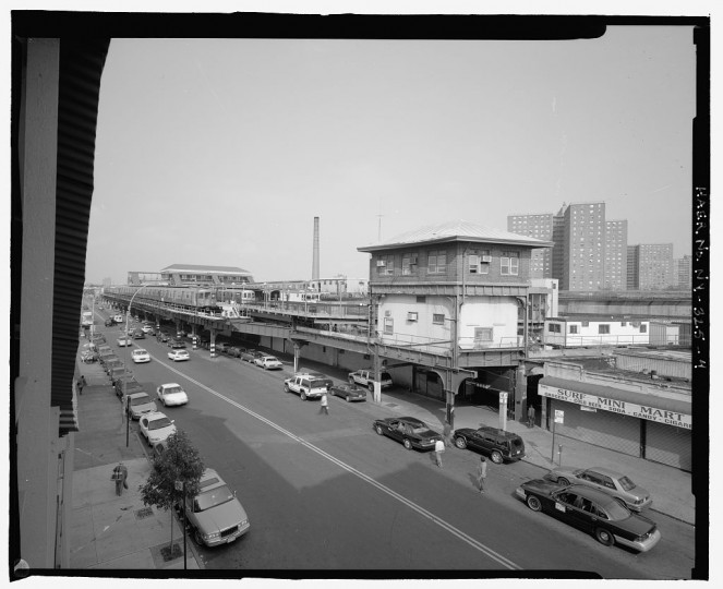 Elevated view along Stillwell Avenue showing west expanse of station, looking northeast. Stillwell Avenue Station, Intersection of Stillwell & Surf Avenues, Brooklyn, Kings County, NY. (Library of Congress)