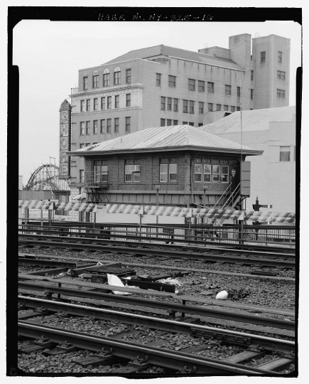 Oblique view of north and east elevations of signal tower, looking southwest. Stillwell Avenue Station, Intersection of Stillwell & Surf Avenues, Brooklyn, Kings County, NY. (Library of Congress)