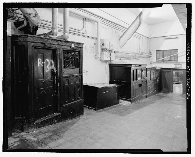 Original ticket booth and concession booths along east wall inside station, looking southeast. Stillwell Avenue Station, Intersection of Stillwell & Surf Avenues, Brooklyn, Kings County, NY. (Library of Congress)