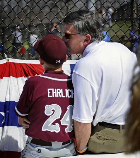 Former Governor Robert L. Ehrlich Jr., right, is pictured with his son Drew, 10, at a little league baseball tournament in March 2010. (Kenneth K. Lam/Baltimore Sun)