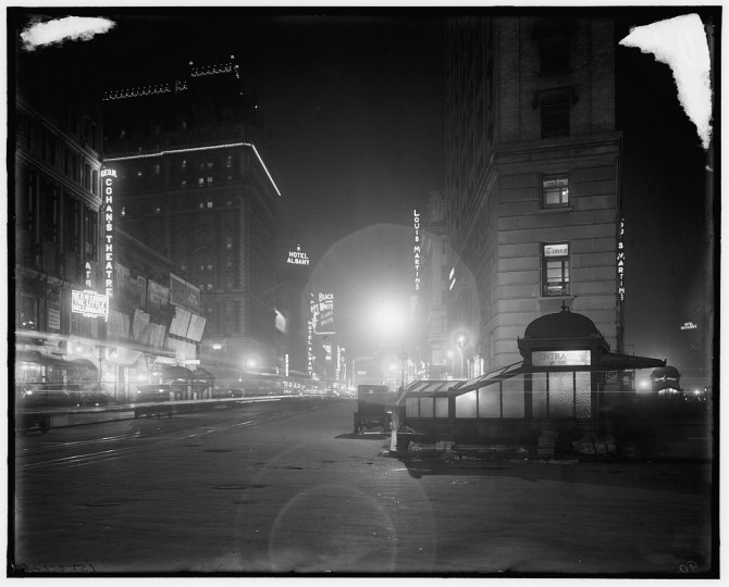Broadway at night from Times Square, New York, N.Y., between 1900 and 1915. (Detroit Publishing Company/Library of Congress)