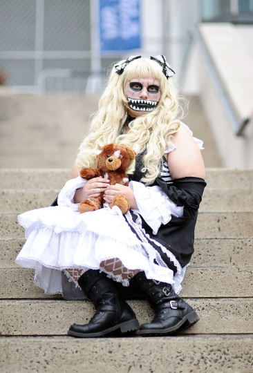 A Comic Con attendee poses during the 2014 New York Comic Con at Jacob Javitz Center. Daniel Zuchnik/Getty Images