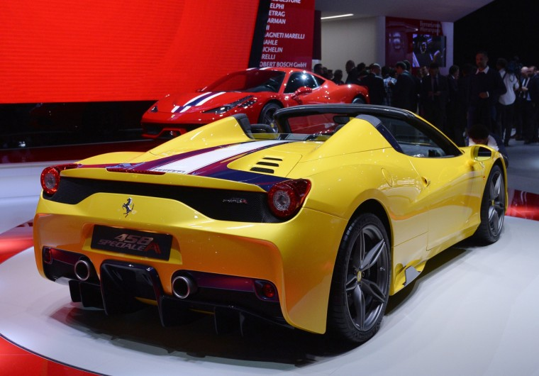 The new Ferrari 458 M is presented at the 2014 Paris Auto Show on October 2, 2014 in Paris, on the first of the two press days. Miguel Medina/AFP/Getty Images