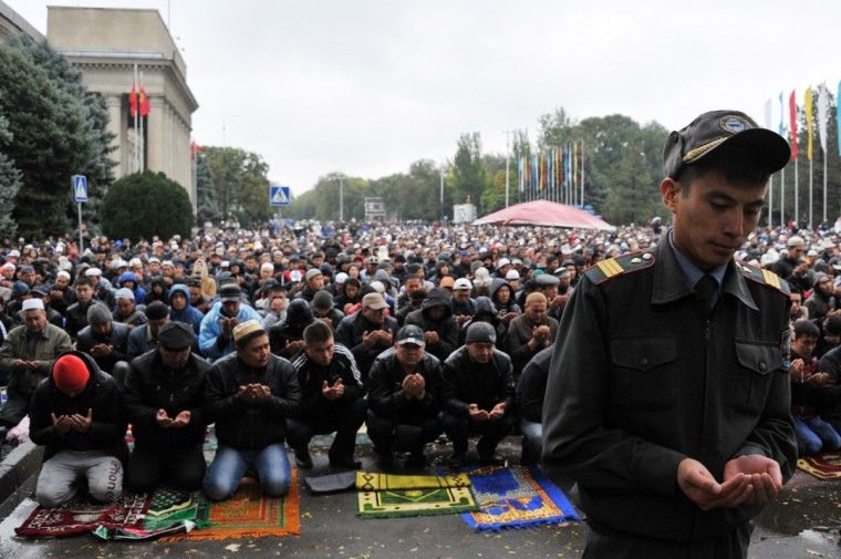 Kyrgyz muslims pray on the first day of the Eid al-Adha (Kurban Bayram) in Bishkek, on October 4, 2014. Muslims across the world celebrate the annual festival of Eid al-Adha, or the Festival of Sacrifice, which marks the end of the Hajj pilgrimage to Mecca and commemorates Prophet Abraham's readiness to sacrifice his son to show obedience to God. (Vyacheslav Oseledko/Getty Images)