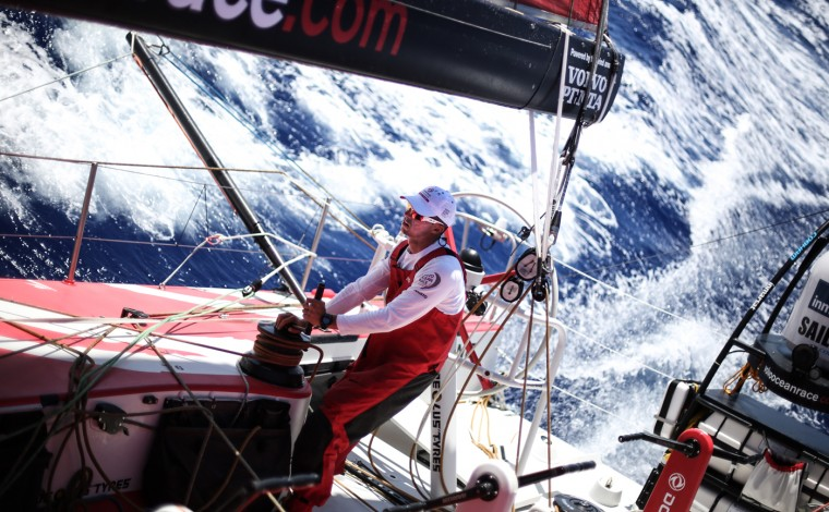 Onboard Dongfeng Race Team. Thomas Rouxel, Triming the FR0 during Leg 1 between Alicante, Spain and Cape Town, South Africa. The Volvo Ocean Race 2014-15 is the 12th running of this ocean marathon. Starting from Alicante in Spain on October 11, 2014, the route, spanning some 39,379 nautical miles, visits 11 ports in 11 countries (Spain, South Africa, United Arab Emirates, China, New Zealand, Brazil, United States, Portugal, France, the Netherlands and Sweden) over nine months. The Volvo Ocean Race is the world's premier ocean race for professional racing crews. (Photo by Yann Riou/Dongfeng Race Team/Volvo Ocean Race via Getty Images)
