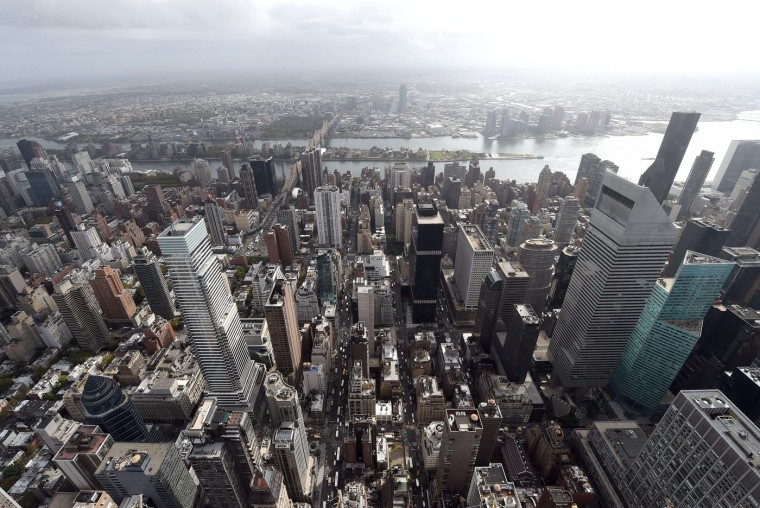 A view of New York City to the east from the 75th floor of 432 Park Avenue October 15, 2014 the day after it earned the distinction of being the country's tallest residential skyscraper. (Timothy A. Clary/AFP/Getty Images)