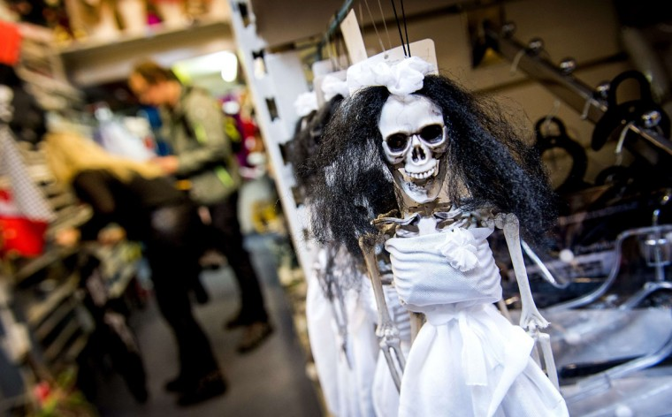 Decorations for Halloween are displayed in a shop in Amsterdam on October 30, 2014. More and more Dutch people are taking part in Halloween celebrations. (Koen Van Weel/ANP/AFP/Getty Images)