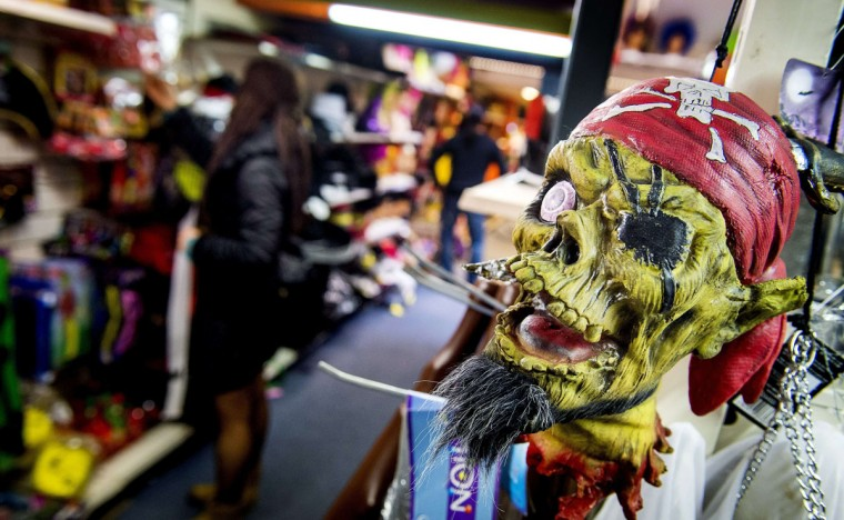 A pirate mask is displayed in a shop in Amsterdam on October 30, 2014 on the eve of Halloween. More and more Dutch people are taking part in Halloween celebrations. (Koen Van Weel/ANP/AFP/Getty Images)