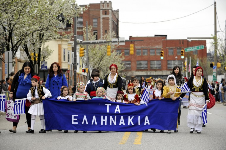 03/25/12: Members of Baltimore's Greek community joined the parade procession to celebrate the 191st anniversary of Greek independence. (Colby Ware/Baltimore Sun)