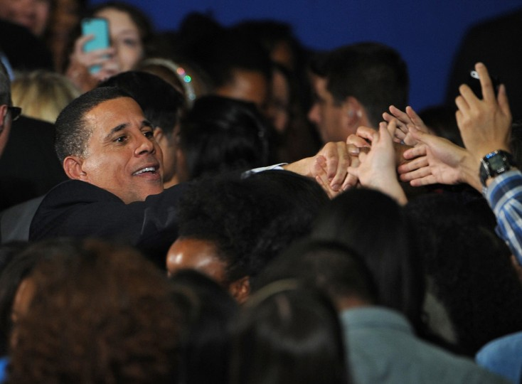 10/30/14: Lieutenant Governor Anthony Brown greets well-wishers after several dignitaries including Hillary Clinton campaigned for him at Ritchie Coliseum at College Park. (Algerina Perna/Baltimore Sun)