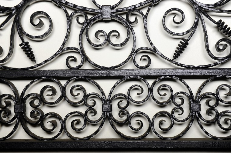 A detail picture of a decorative teller cage is shown in the museum at G. Krug & Son Ironworks, the oldest continually run blacksmith shop in the country. (Kim Hairston/Baltimore Sun)