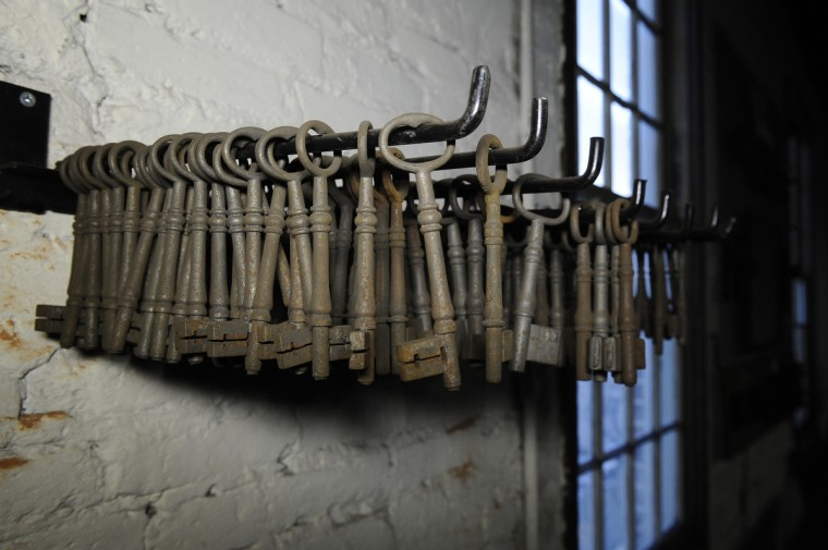Keys from the 1800s hang by a window in G. Krug & Son Ironworks. (Kim Hairston/Baltimore Sun)