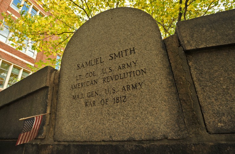 The vault for Samuel Smith, 1752-1839, is inscribed with his service in the Revolutionary War and as the Major General in charge of the defense of Baltimore in the War of 1812, but Smith was also a U.S. Congressman, Senator and a Mayor of Baltimore City. Amy Davis / Baltimore Sun