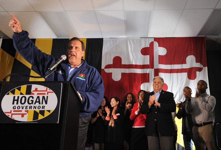 11/2/14: At Patapsco Arena, New Jersey Governor Chris Christie, at podium, headlines a rally for Larry Hogan, third from right, the GOP nominee for governor. (Algerina Perna/Baltimore Sun)